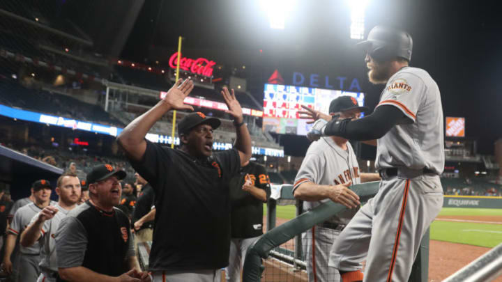 SF Giants right fielder Hunter Pence (8) celebrates his solo home run with then Giants hitting coach Hensley Meulens (31, center). (Jason Getz-USA TODAY Sports)