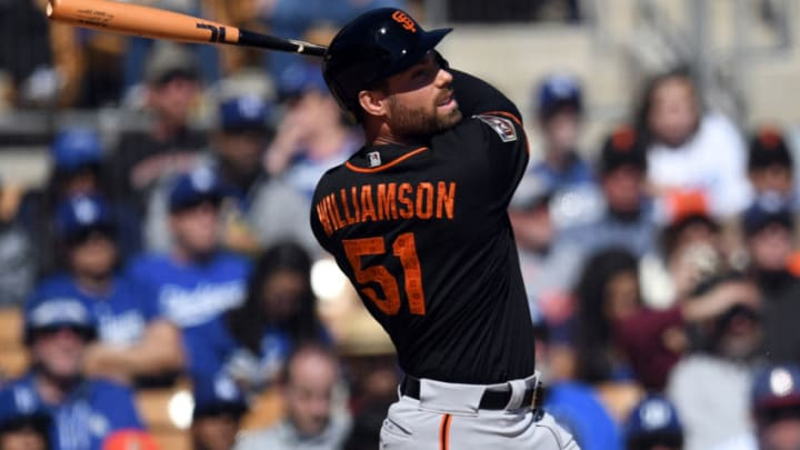 Former SF Giants outfielder Mac Williamson (51) continues to deal with symptoms from a concussion he suffered after being tripped by a bullpen mound at Oracle Park. (Joe Camporeale-USA TODAY Sports)
