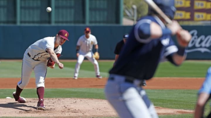 Current SF Giants prospect RJ Dabovich during his time at Arizona State, pitching against Xavier at Phoenix Municipal Stadium. Z6i1435