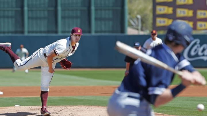 Arizona State's RJ Dabovich pitches during the first inning against Xavier at Phoenix Municipal Stadium in Phoenix, Ariz. He was drafted by the SF Giants in the 4th round of the 2020 MLB Draft.
