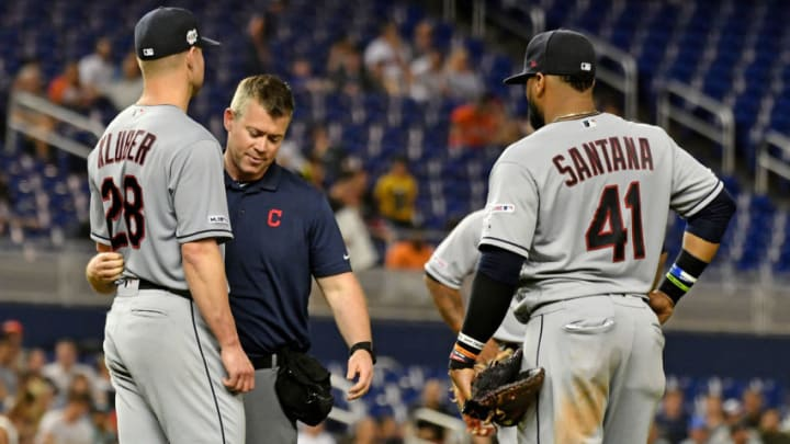May 1, 2019; Miami, FL, USA; A member of the Cleveland Indians medical staff checks on starting pitcher Corey Kluber (28) after he was struck in the arm by a ball in the fifth inning H at Marlins Park. Kluber could be an SF Giants target this offseason. (Jasen Vinlove-USA TODAY Sports)