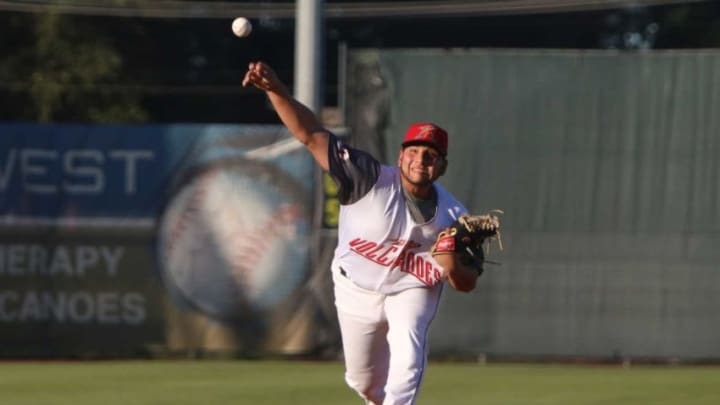 Salem-Keizer's Kervin Castro pitches during the home opener against the Boise Hawks at Volcanoes Stadium on Friday, June 14.