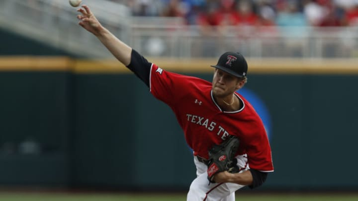 Texas Tech Red Raiders pitcher Caleb Kilian (32) throws in the first inning against the Arkansas Razorbacks in the 2019 College World Series at TD Ameritrade Park. He was drafted by the SF Giants in the 2019 Draft. (Bruce Thorson-USA TODAY Sports)