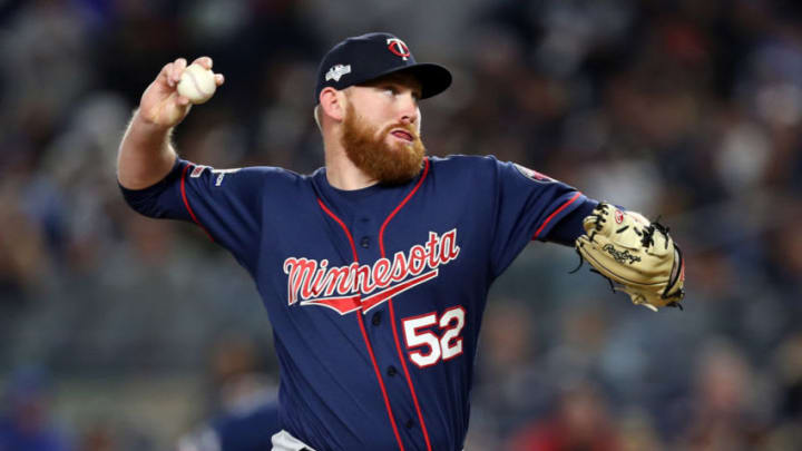 Oct 4, 2019; Bronx, NY, USA; Minnesota Twins relief pitcher Zack Littell (52) pitches during the fifth inning against the New York Yankees in game one of the 2019 ALDS playoff baseball series at Yankee Stadium. Mandatory Credit: Wendell Cruz-USA TODAY Sports