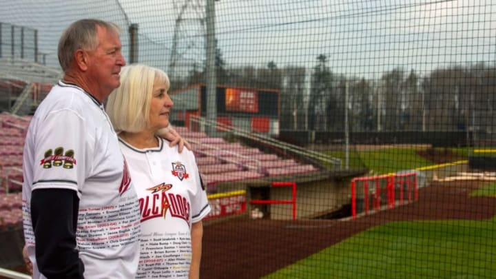 Jerry and JoAnn Wood pose for a portrait at the Volcanoes Stadium in Keizer, Ore. on Dec. 18, 2019. They have been Volcanoes season ticket holders for 23 years.
