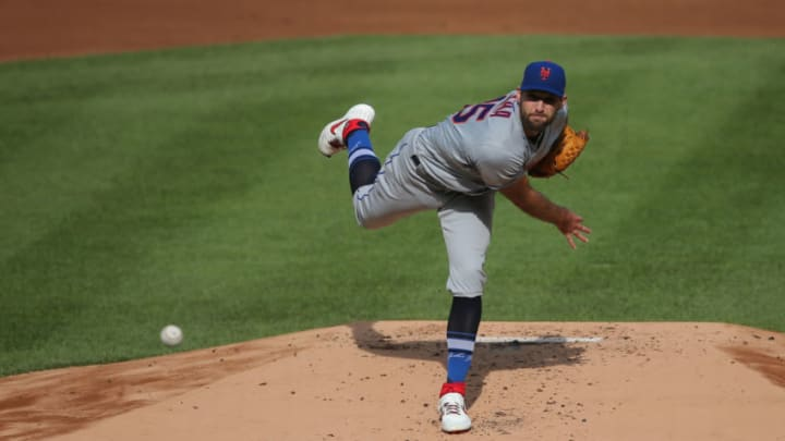 Aug 28, 2020; Bronx, New York, USA; New York Mets starting pitcher Michael Wacha (45) pitches against the New York Yankees during the first inning of the first game of a double header at Yankee Stadium. Mandatory Credit: Brad Penner-USA TODAY Sports