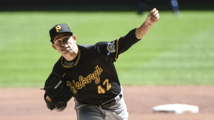 Pittsburgh Pirates pitcher Steven Brault throws a pitch in the first inning against the Milwaukee Brewers at Miller Park. Mandatory Credit: Benny Sieu-USA TODAY Sports