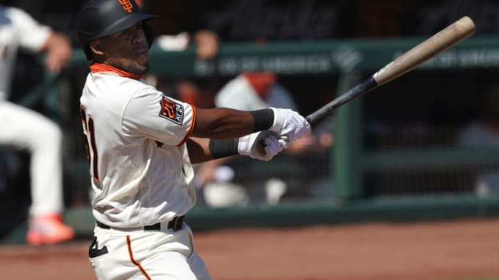 SF Giants right fielder Luis Basabe (61) during the third inning against the Seattle Mariners at Oracle Park. (Darren Yamashita-USA TODAY Sports)