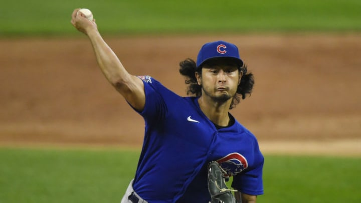 Sep 25, 2020; Chicago, Illinois, USA; Chicago Cubs starting pitcher Yu Darvish (11) throws the baseball in the first inning against the Chicago White Sox at Guaranteed Rate Field. Mandatory Credit: Quinn Harris-USA TODAY Sports