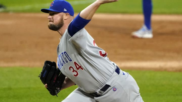 Sep 26, 2020; Chicago, Illinois, USA; Chicago Cubs starting pitcher Jon Lester (34) throws a pitch against the Chicago White Sox during the second inning at Guaranteed Rate Field. Mandatory Credit: Mike Dinovo-USA TODAY Sports