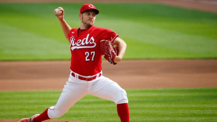 Cincinnati Reds starting pitcher Trevor Bauer (27) delivers the ball in the day baseball game against Pittsburgh Pirates on Monday, Sept. 14, 2020, at Great American Ball Park in Cincinnati. Reds won 3-1. Reds File Trevorbauer Mv 0001