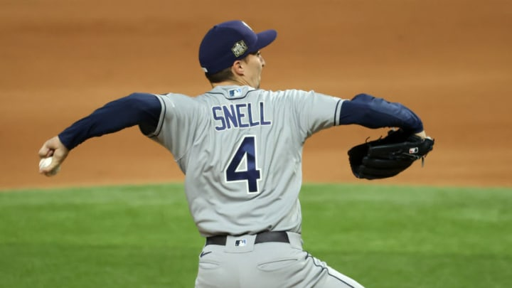 Tampa Bay Rays starting pitcher Blake Snell (4) delivers a pitch in the 1st inning against the Los Angeles Dodgers in game two of the 2020 World Series at Globe Life Field. (Kevin Jairaj-USA TODAY Sports)