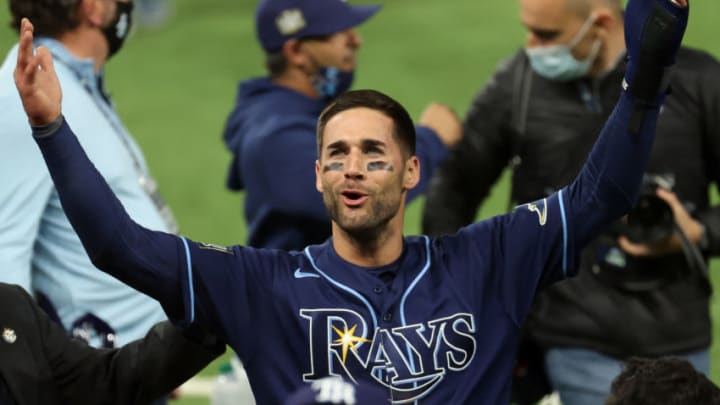 TB Rays center fielder Kevin Kiermaier (middle) celebrates with teammates after defeating the Los Angeles Dodgers in game four of the 2020 World Series at Globe Life Field. (Kevin Jairaj-USA TODAY Sports)