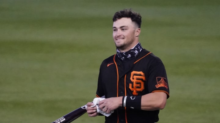SF Giants Hunter Bishop gets ready for a spring training game against the Los Angeles Dodgers at Scottsdale Stadium. (Rick Scuteri-USA TODAY Sports)