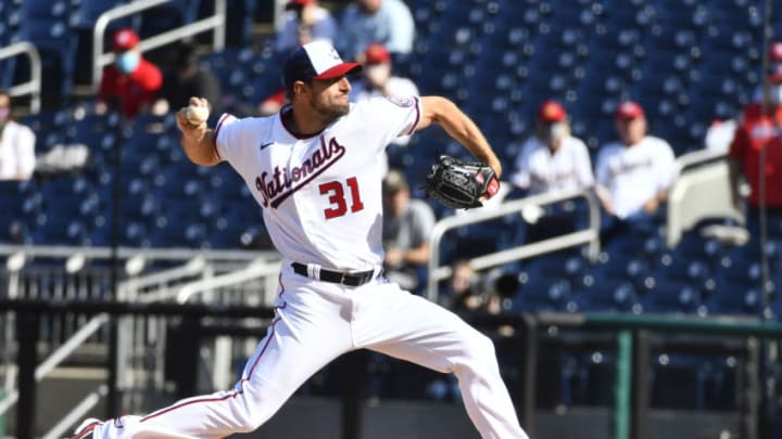 Washington Nationals starting pitcher Max Scherzer (31) throws the first pitch of the season against the Atlanta Braves during the first inning at Nationals Park. (Brad Mills-USA TODAY Sports)