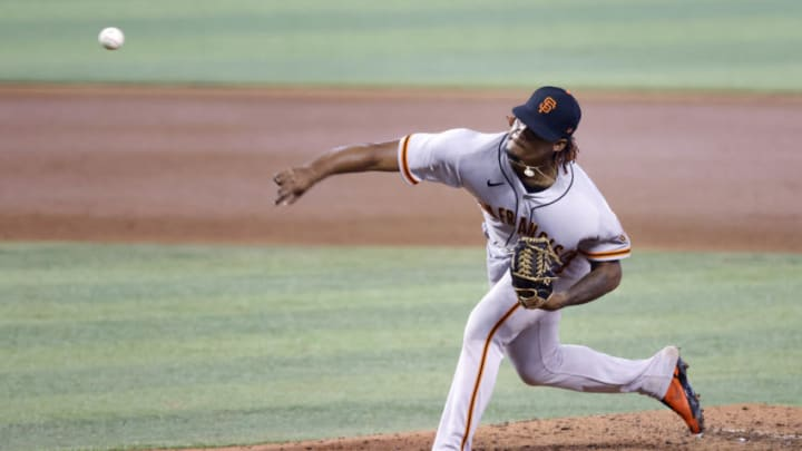 SF Giants pitcher Camilo Doval (75) throws against the Miami Marlins during the seventh inning at loanDepot Park. (Rhona Wise-USA TODAY Sports)