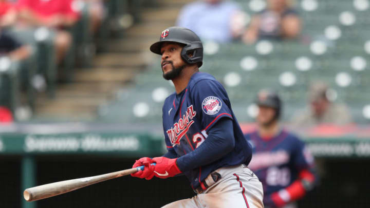 Minnesota Twins Byron Buxton (25) hits a double in the eigth inning against the Cleveland Baseball Team at Progressive Field. (Aaron Josefczyk-USA TODAY Sports)