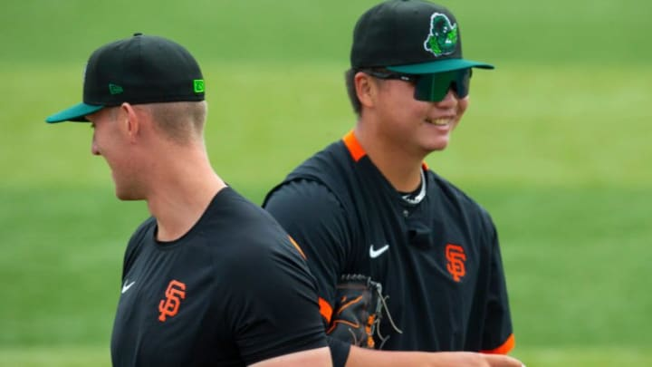SF Giants pitching prospects Nick Morreale, left, and Kei-Wei Teng visit PK Park for the start of the Eugene Emeralds' 2021 season.