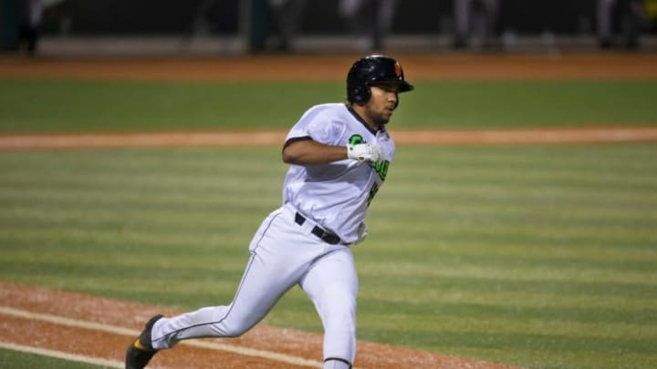 Eugene Emeralds Franklin Labour runs the bases after a hit against the Hops in their first home game of the 2021 season at PK Park in Eugene. Eugene is the SF Giants High-A affiliate.
