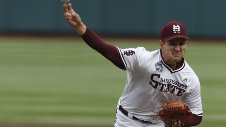 Jun 26, 2021; Omaha, Nebraska, USA; Mississippi State Bulldogs pitcher Will Bednar (24) throws against the Texas Longhorns at TD Ameritrade Park. (Bruce Thorson-USA TODAY Sports)