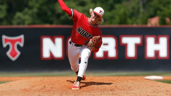 North Oconee's Bubba Chandler throws a pitch during game one of a GHSA AAAA semifinal between Benedictine and North Oconee in Bogart, Ga., on Saturday, May 15, 2021. Benedictine defeated North Oconee twice in a doubleheader and advances to the state championship game. News Joshua L Jones
