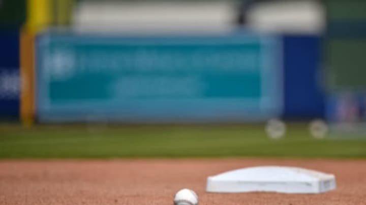 Mar 19, 2017; West Palm Beach, FL, USA; A general view of a baseball and base on the field prior to a spring training game between the Houston Astros and the New York Yankees at The Ballpark of the Palm Beaches. Mandatory Credit: Jasen Vinlove-USA TODAY Sports