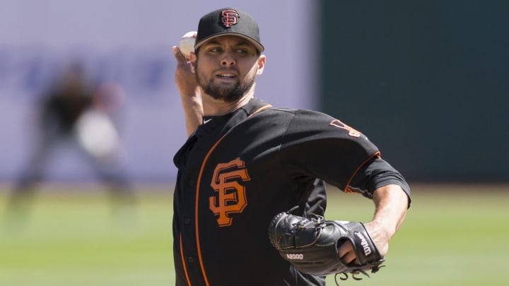 Apr 1, 2017; Oakland, CA, USA; San Francisco Giants pitcher Tyler Beede (32) delivers a pitch during the first inning against the Oakland Athletics at Oakland Coliseum. Mandatory Credit: Neville E. Guard-USA TODAY Sports