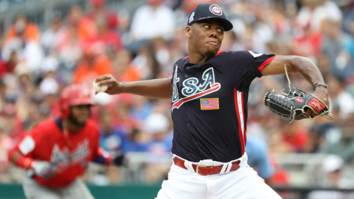 WASHINGTON, DC - JULY 15: Hunter Greene #3 pitches against the World Team during the SiriusXM All-Star Futures Game. (Photo by Rob Carr/Getty Images)