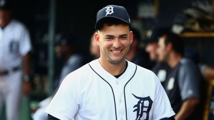 DETROIT, MI - AUGUST 14: Jose Iglesias #1 of the Detroit Tigers smiles in the dugout prior to playing the Chicago White Sox at Comerica Park on August 14, 2018 in Detroit, Michigan. (Photo by Gregory Shamus/Getty Images)