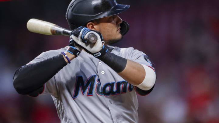 CINCINNATI, OH - APRIL 10: Miguel Rojas #19 of the Miami Marlins is seen at bat during the game against the Cincinnati Reds. (Photo by Michael Hickey/Getty Images)