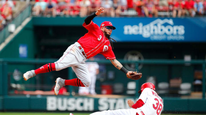 ST LOUIS, MO - SEPTEMBER 01: Jose Martinez #38 of the St. Louis Cardinals steals second base against Freddy Galvis #3 of the Cincinnati Reds (Photo by Dilip Vishwanat/Getty Images)