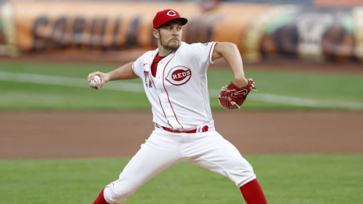 CINCINNATI, OH - SEPTEMBER 23: Trevor Bauer #27 of the Cincinnati Reds pitches during the game against the Milwaukee Brewers. (Photo by Michael Hickey/Getty Images)