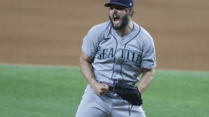 ARLINGTON, TX - MAY 7: Kendall Graveman #49 of the Seattle Mariners reacts after striking out Charlie Culberson. (Photo by Ron Jenkins/Getty Images)