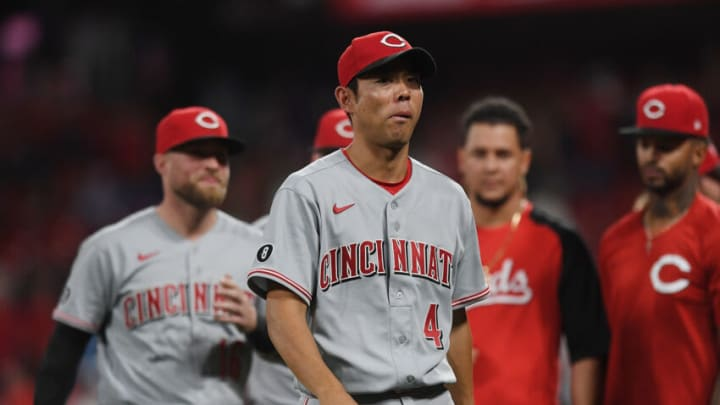 ST. LOUIS, MO - SEPTEMBER 10: Shogo Akiyama #4 of the Cincinnati Reds leaves the field. (Photo by Michael B. Thomas /Getty Images)