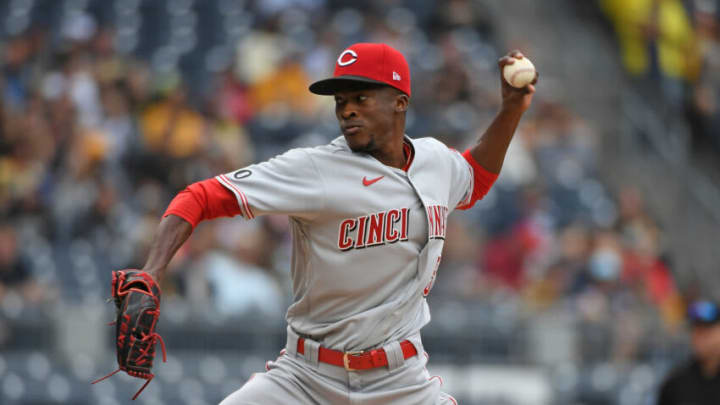 PITTSBURGH, PA - OCTOBER 03: Reiver Sanmartin #52 of the Cincinnati Reds delivers a pitch. (Photo by Justin Berl/Getty Images)