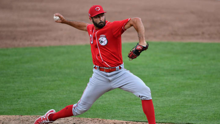 Ryan Hendrix #73 of the Cincinnati Reds pitches during an intrasquad scrimmage.