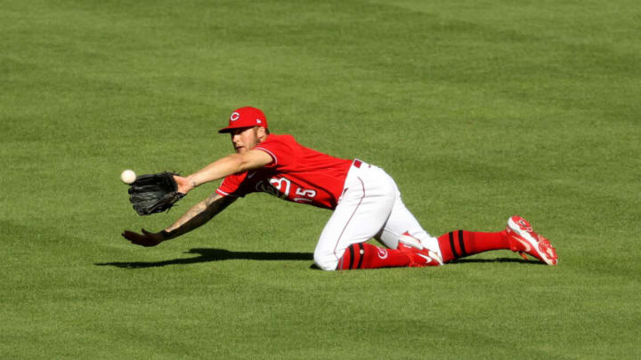 CINCINNATI, OHIO - MAY 01: Nick Senzel #15 of the Cincinnati Reds dives to make a catch. (Photo by Dylan Buell/Getty Images)