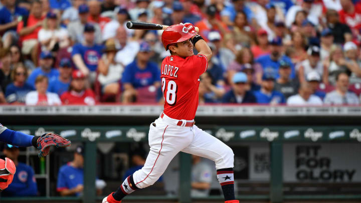 Alejo Lopez #28 of the Cincinnati Reds bats against the Chicago Cubs.