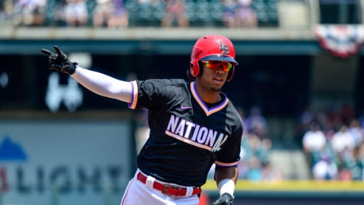 DENVER, CO - JULY 11: Jose Barrero #50 of National League Futures Team runs the bases after hitting a first inning solo home run.(Photo by Dustin Bradford/Getty Images)