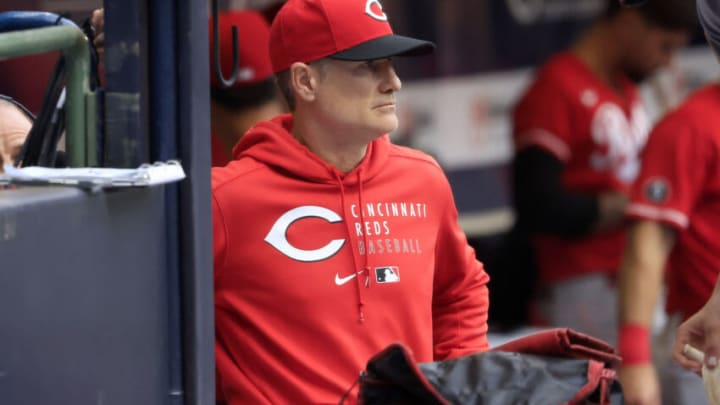 MILWAUKEE, WISCONSIN - JULY 10: David Bell #25 of the Cincinnati Reds watches from the dugout. (Photo by Justin Casterline/Getty Images)