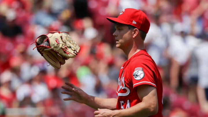 CINCINNATI, OHIO - JULY 18: Sonny Gray #54 of the Cincinnati Reds tosses his glove after being relieved in the fifth inning. (Photo by Dylan Buell/Getty Images)