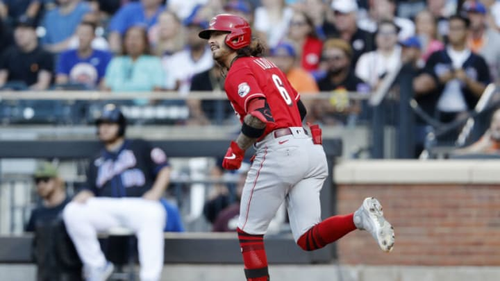 NEW YORK, NEW YORK - JULY 30: Jonathan India #6 of the Cincinnati Reds watches the flight of his first inning home run. (Photo by Jim McIsaac/Getty Images)