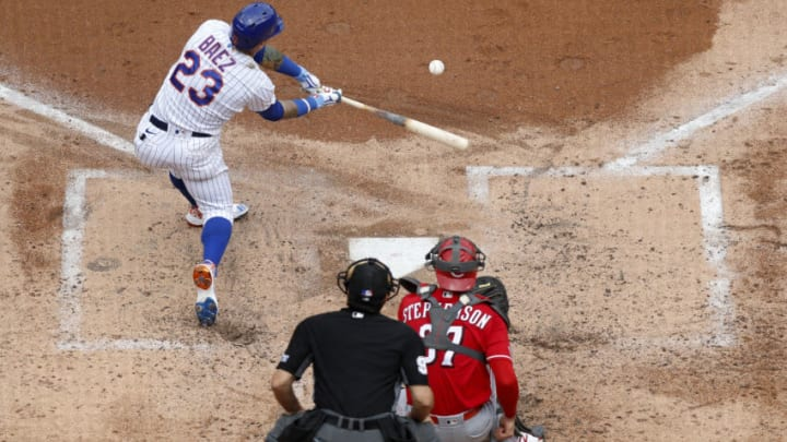 NEW YORK, NEW YORK - AUGUST 01: Javier Baez #23 of the New York Mets in action against the Cincinnati Reds. (Photo by Jim McIsaac/Getty Images)