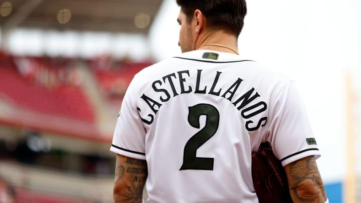 Nick Castellanos #2 of the Cincinnati Reds stands on the field.