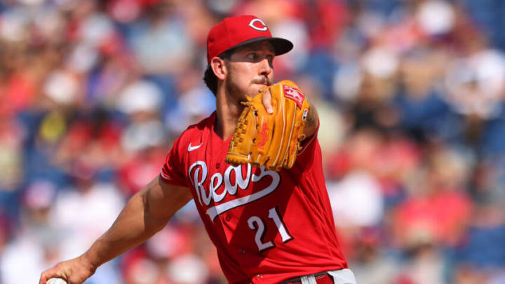 PHILADELPHIA, PA - AUGUST 15: Michael Lorenzen #21 of the Cincinnati Reds in action. (Photo by Rich Schultz/Getty Images)