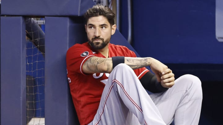 MIAMI, FLORIDA - AUGUST 29: Nick Castellanos #2 of the Cincinnati Reds looks on. (Photo by Michael Reaves/Getty Images)