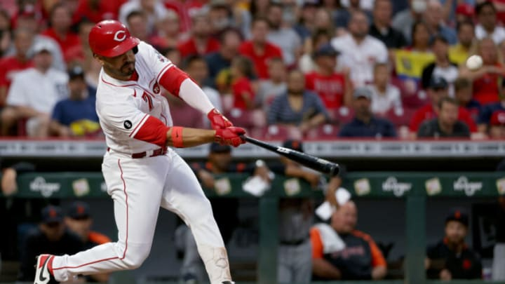 CINCINNATI, OHIO - SEPTEMBER 03: Eugenio Suarez #7 of the Cincinnati Reds hits a home run. (Photo by Dylan Buell/Getty Images)