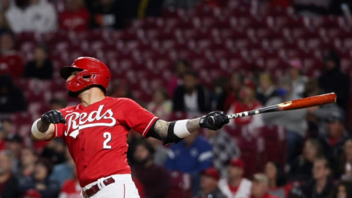 CINCINNATI, OHIO - SEPTEMBER 25: Nick Castellanos #2 of the Cincinnati Reds hits a walk-off home run. (Photo by Dylan Buell/Getty Images)
