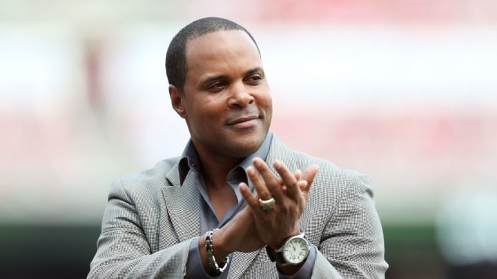 Barry Larkin is pictured during the ceremony in which the Reds retired Larkin's number before the start of the game.