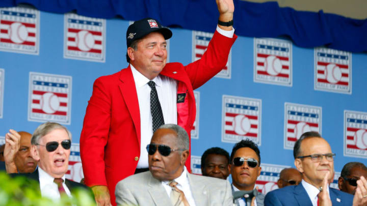 COOPERSTOWN, NY - JULY 27: Hall of FamerJohnny Bench is introduced during the Baseball Hall of Fame induction ceremony at Clark Sports Center on July 27, 2014 in Cooperstown, New York. (Photo by Jim McIsaac/Getty Images)